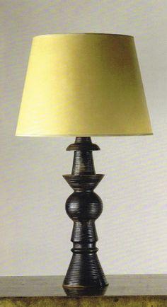 Marc du Plantier table lamp in black-glazed terracotta, 1940 (Galerie Yves Gastou, Paris).