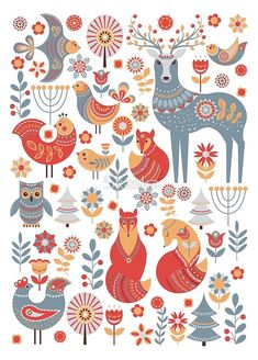 Бесшовные шаблон с зимний лес, олени, сова и лиса. Скандинавском стиле. по Skaska