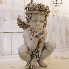 Distressed cherub statue hand painted handmade ornate crown Shabby chic angel figure inspired by French santos Anita Spero