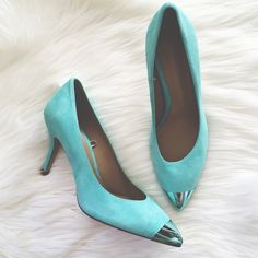 "Zara Blue Metal Capped Toe Heels Pretty Zara blue metal capped toe heels, never worn. Perfect to pair with your favorite skinny jeans! Blogger fave! Size 38 which is a 7.5 in Zara! 3.5"" heel. YES to: Bundle Discounts NO to: Trades / Modeling / Holds  Happy Poshing!!  Zara Shoes Heels"