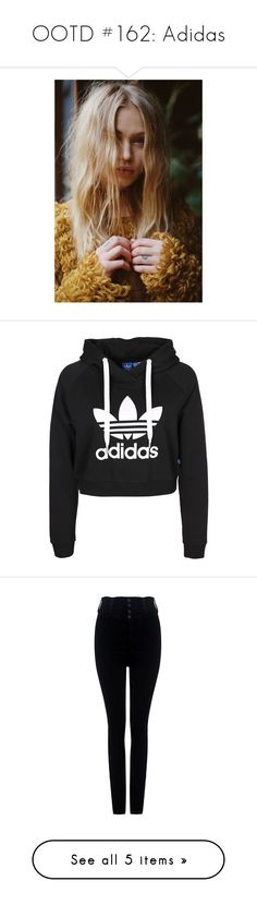 """OOTD #162: Adidas"" by jadahoran123 on Polyvore featuring pictures, models, people, backgrounds, blonde, tops, hoodies, cut-out crop tops, cropped hoodies and hoodie top"
