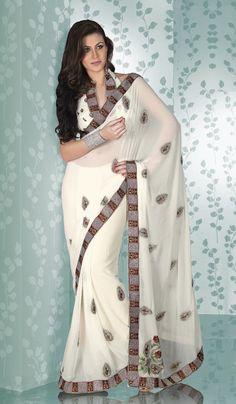 White Party Wear Indian #Designer #Saree