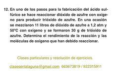 Ejercicio 12. Tema: Rendimiento (reacciones químicas)