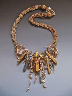 Quartz crystal fresh water pearls, labradorite, moss aquamarine, antique French brass seed beads LuciaAntonelli.com