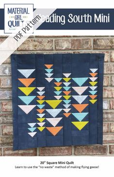 "Heading South takes a modern twist on the traditional flying geese block. This mini quilt measures 20"" square. Scrappy Quilts, Easy Quilts, Mini Quilts, Quilting Tutorials, Quilting Projects, Quilting Designs, Art Quilting, Quilt Design, Quilting Fabric"
