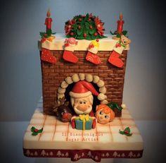 The magic of Christmas - cake by Carla Poggianti Il Bianconiglio - CakesDecor Christmas Cupcake Toppers, Christmas Cake Designs, Christmas Tree Cake, Christmas Snacks, Christmas Cupcakes, Polymer Clay Ornaments, Polymer Clay Christmas, Winter Torte, Polymer Clay Disney