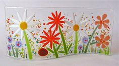 Wavy Fused Glass Flower Panel