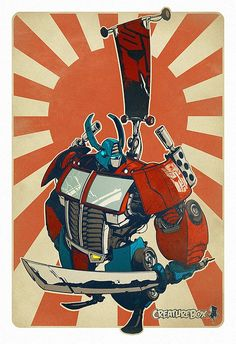 One of the most iconic scenes of the original Transformers TV show was the battle between Optimus Prime and Megatron on top of the Hoover Dam. Artist NinjaInk whose work I've posted here befo… Art And Illustration, Graphic Design Illustration, Samurai, Comic Kunst, Comic Art, Character Concept, Concept Art, Pop Art Poster, Robots Characters