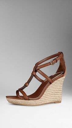 House Check Leather Espadrille Wedges