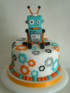 Cute cake for a kid's robot themed birthday party! Fondant Cakes, Cupcake Cakes, Fondant Bow, 3d Cakes, Fondant Tutorial, Fondant Flowers, Fondant Figures, Bolo Lego, Robot Cake