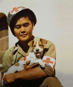 """Wahine,"" the adopted mascot of medics in the 442nd Regiment. the 442nd was the most decorated regiment in WWII composed entirely of Japanese Americans from Hawaii. ""Go For Broke"" was their motto.  The late Senator Dan Inouye was a Captain in the 442nd who lost his arm. ""Wahine"" means girl or woman in Hawaiian"