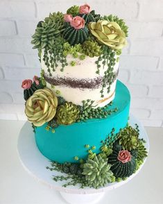 This Artist Creates Stunning Cakes You Would Rather Put On Your Windowsill Than . - All things succulent - Cake Fancy Cakes, Cute Cakes, Pretty Cakes, Beautiful Cakes, Amazing Cakes, Cupcakes Succulents, Succulent Cakes, Succulent Plants, Cacti