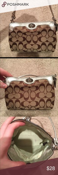 Coach Wristlet This adorable REAL Coach bag is great for travel, a wallet, makeup, etc. I personally used it for makeup and the interior has minor stains as its a light mint color but the exterior has NO STAINS and extremely clean. Enjoy! Coach Bags Wallets