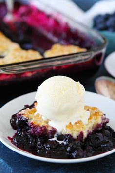 Blueberry Cobbler made with fresh blueberries and a simple buttermilk biscuit topping