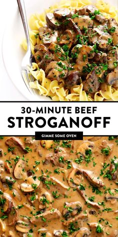 This Easy Beef Stroganoff recipe is quick and easy to make, full of creamy steak and mushrooms, and SO savory Classic Beef Stroganoff Recipe, Best Beef Stroganoff, Easy Stroganoff Recipe, Chicken Stroganoff, Meat Recipes, Cooking Recipes, Good Easy Dinner Recipes, Quick Recipes With Beef, Easy To Cook Recipes