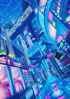 vaporwave city Future cities concept art - Page 5 - Architecture amp; Ville Cyberpunk, Cyberpunk City, Futuristic City, Vaporwave, New Retro Wave, Retro Waves, Image Tumblr, Anime City, Neon Aesthetic