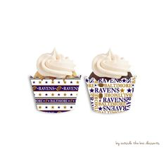 Baltimore Ravens Football Inspired Cupcake Wrappers