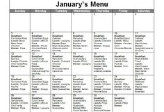 A menu for the whole month of January along with freezer meals and recipes.  Great ideas to help make dinner preparation easier.  Includes breakfast, lunch and dinner.