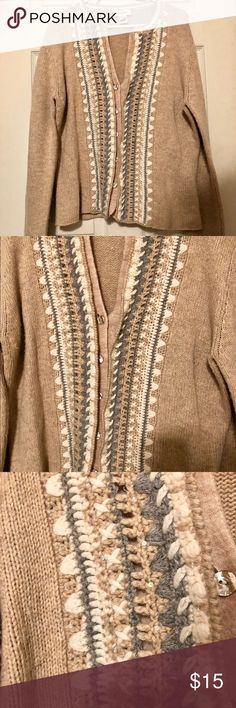Talbots Camel Cardigan with Crochet Trim Talbots button down cardigan with gray and ivory crochet detail at front closure and neckline  Good condition with some very light fuzz. Only the sweater is included with this listing. Lambswool Angora blend Talbots Sweaters Cardigans