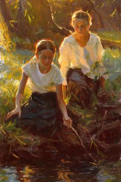 """""""Summer Play"""" by Mike Malm, Giclee on canvas print x Malm, Figure Painting, Figure Drawing, Painting & Drawing, Watercolor Painting, Art And Illustration, Renaissance Kunst, Figurative Kunst, Old Paintings"""