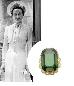 """Emerald engagement ring of Wallis Simpson (Bessie Wallis Warfield-Spencer-Simpson) (1896-1986) USA wife of King Edward VIII """"David"""" (1894-1972) UK, Duchess of Windsor. Wallis in the background picture is wearing the  wedding dress she wore when she married Edward VIII."""