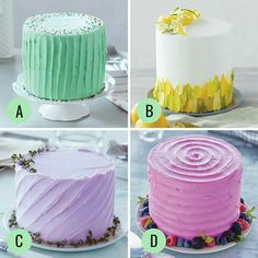Watch and learn how to use Wilton Tip to create three different and beautiful buttercream cakes! This decorating tip is so versatile you can come up with in Tea Cakes, Mini Cakes, Cupcake Cakes, Wilton Cake Decorating, Cookie Decorating, Alcohol Infused Cupcakes, Citrus Cake, Ribbon Cake, Lavender Cake