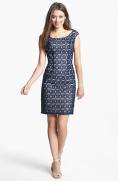 Adrianna Papell Lace Shift Dress available at #Nordstrom