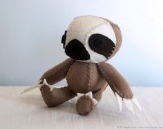 Sloth Plush Art Doll, Brady. nonesuchgarden, via Etsy.