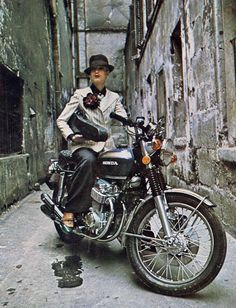 Lady Gangster on Honda CB750 from the early 70's