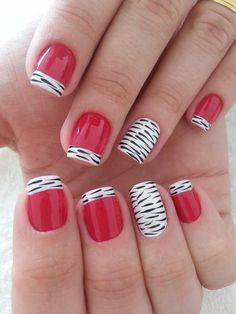 add some feathers or black accent nail and you have great Chicago Blackhawk Nails