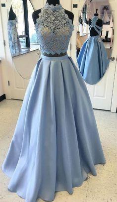 two piece prom dress, long prom dress, blue prom dress, prom dress, formal evening gown,Custom Made Evening Dress
