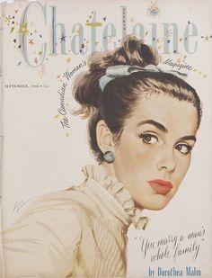 1948 vintage chatelaine magazine cover - The Vintage Inn Vintage Glamour, Vintage Beauty, Vintage Ads, Vintage Romance, Vintage Clip, Vintage Vogue Covers, Magazin Covers, Arte Pop, Vintage Magazines