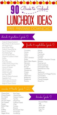 FREE Printable Download of 90 Different Back to School Lunchbox Ideas - Get Ideas for Kids Lunches at School this year so that you always have something new to try.: