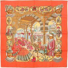"Auth Hermes Paris ""Splendeur Des Maharajas"" Vintage Silk Scarf Baschet 90cm | eBay"