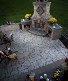 Must have outdoor kitchen and fireplace.