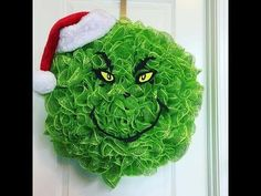 How to make a Grinch Deco Mesh Wreath for Christmas - YouTube