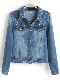 Blue Long Sleeve Bleached Rivet Denim Jacket - Sheinside.com