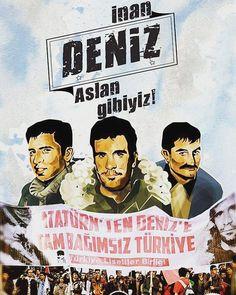 """Türkiye Lisesliler Birliği'nin #DenizGezmiş, #YusufAslan ve #Hüseyinİnan 'ın idam edilişlerinin yıl dönümünde düzenlediği """"İnan, Deniz, Aslan Gibiyiz"""" yürüyüşünde buluşuyoruz. 6 Mayıs saat 16.30'da #Kadıköy #Moda İlk Öğretim Okulu önü. Liberal Education, Che Guevara, Writer, Culture, Film, Quotes, Movie Posters, Instagram, Mosaics"""