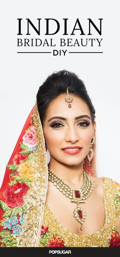 While most American women walk down the aisle on their wedding day in a white dress with a romantic, rose-hued makeup look, Indian American ladies tend to look more vibrant. The latter get dolled up in traditional outfits — belly-baring tops, flaming red beaded skirts, bold-colored diamond jewelry, and stunning headpieces known as tikkas. To complement such an eye-catching outfit, Indian women also typically wear more statement-making makeup looks — think seriously smoky eyes and a punchy lip. Learn how to re-create this stunning bridal beauty look with this step-by-step DIY.
