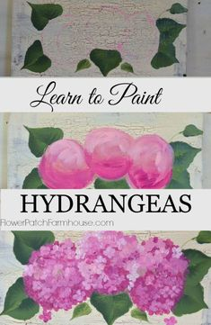 How to Paint Hydrangeas, a tutorial on hand painting these lovely blooms, complete with video, http://FlowerPatchFamrhouse.com
