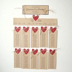 Seating plan (NAME of places) with heart and natural jute set of 10 and the intro card