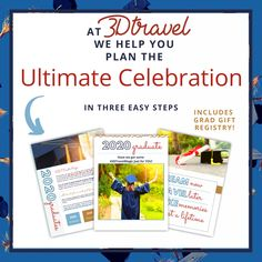 Let Me Help You Plan The Ultimate Celebration!! At 3D Travel, we dream BIG! We have a GRADUATION package going on right now for graduates- even includes a gift registry! DREAM NOW AND TRAVEL LATER!!!