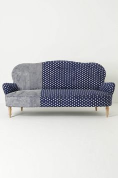 Contrast couch upholstery inspiration - anthropologie mathilde-sofa in dots-delicacies Sofa Furniture, Furniture Design, Sofa Sofa, Wingback Chair, Couches, Living Spaces, Living Room, Deco Design, Design Design