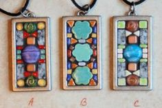 MosaicJewelery Paper Mosaic, Mosaic Crafts, Resin Crafts, Mosaic Art, Mosaic Glass, Mosaic Tiles, Jewelry Crafts, Jewelry Art, Glass Art