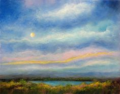 Moonlit Evening Landscape Full Moon Plein by MarinaPetroFineArt, $200.00  https://www.etsy.com/listing/116596157/moonlit-evening-landscape-full-moon