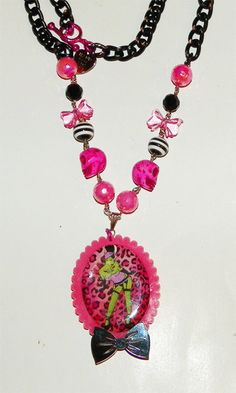 Hot Pink and Black Zombie Pinup Cameo Necklace by Pinkspiderwebs, $40.00