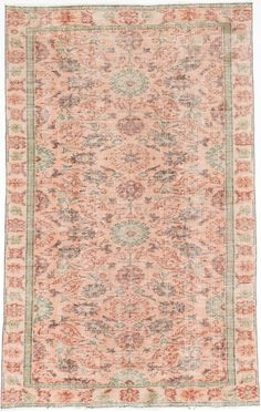 x Vintage Turkish Pastel Peach and by kordestanicollection Pink Rug, Kid Spaces, Old World, Timeless Fashion, Hand Weaving, Area Rugs, Pastel, Traditional, Peach Fuzz