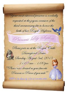 Sofia the First Birthday Invitation by ParkerProductions on Etsy, $10.00