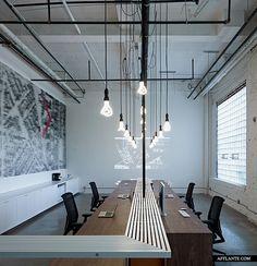 Hanging Plumen bulbs as desk lamps