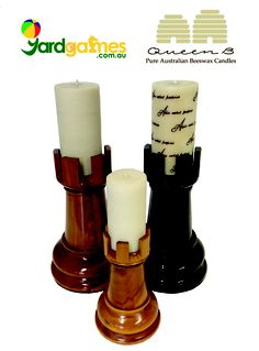 gorgeous hand made teak chess rooks as candlesticks from www.Yardgames.com.au with pure Australian beeswax candles from the amazing selection at www.QueenB.com.au. Thinking of decor for styling your photo shoot, wedding or other event?